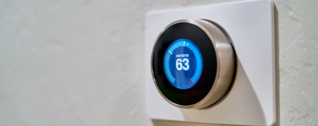 smart thermostat in smart apartment